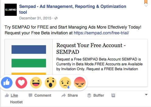 facebook's reaction buttons SEMPAD