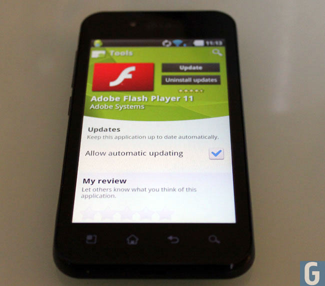 Flash on mobile device