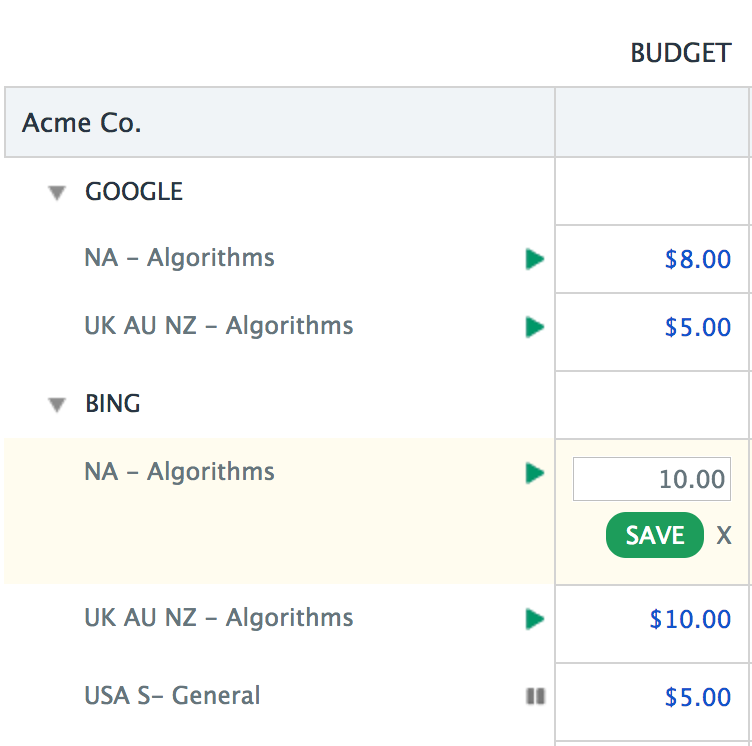 Bing Ad Budgets