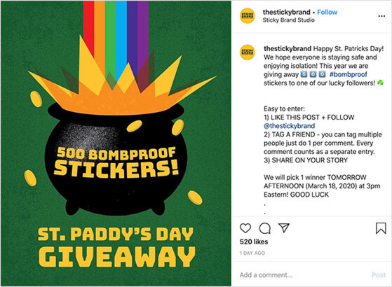 st paddys instagram giveaway